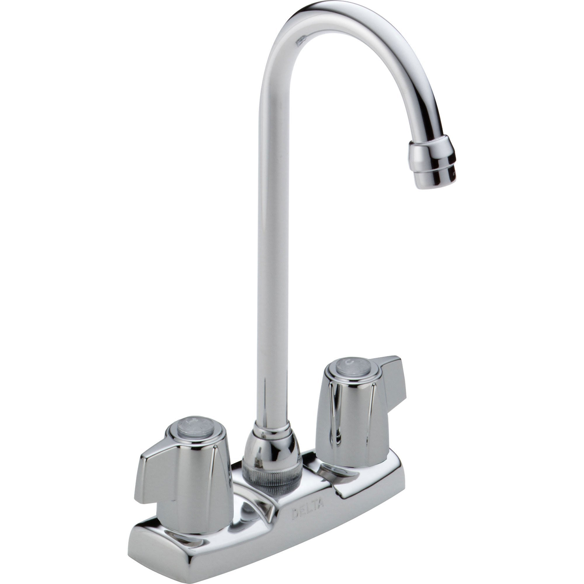 Delta Gooseneck Spout Two Handle Chrome Bar / Prep Sink Faucet 555810