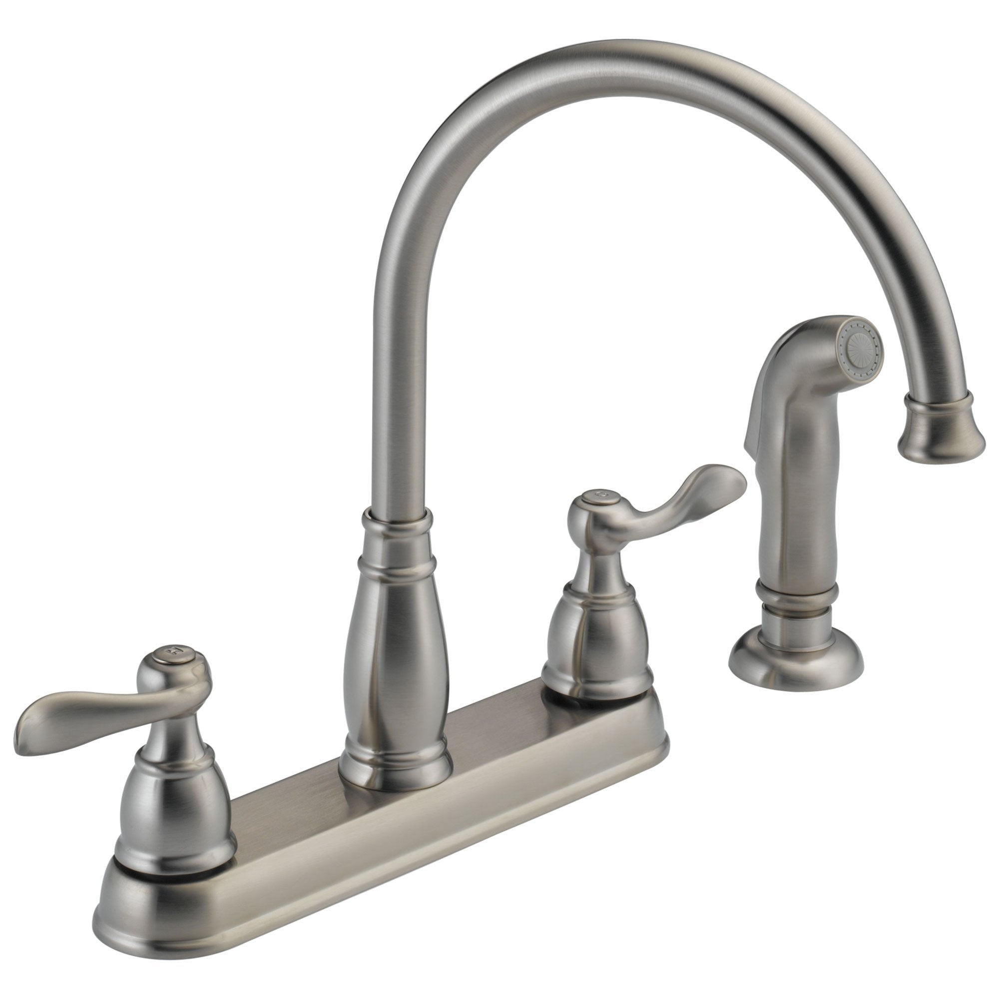 Delta Windemere Collection Stainless Steel Finish Two Handle Gooseneck  Swivel Spout Kitchen Faucet with Side Sprayer D21996LFSS