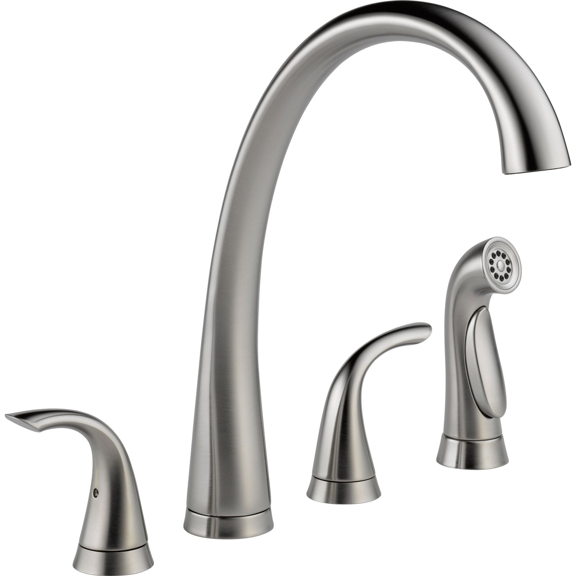Delta Arctic Stainless High Arch Spout Widespread Kitchen Faucet w/ Spray 555816