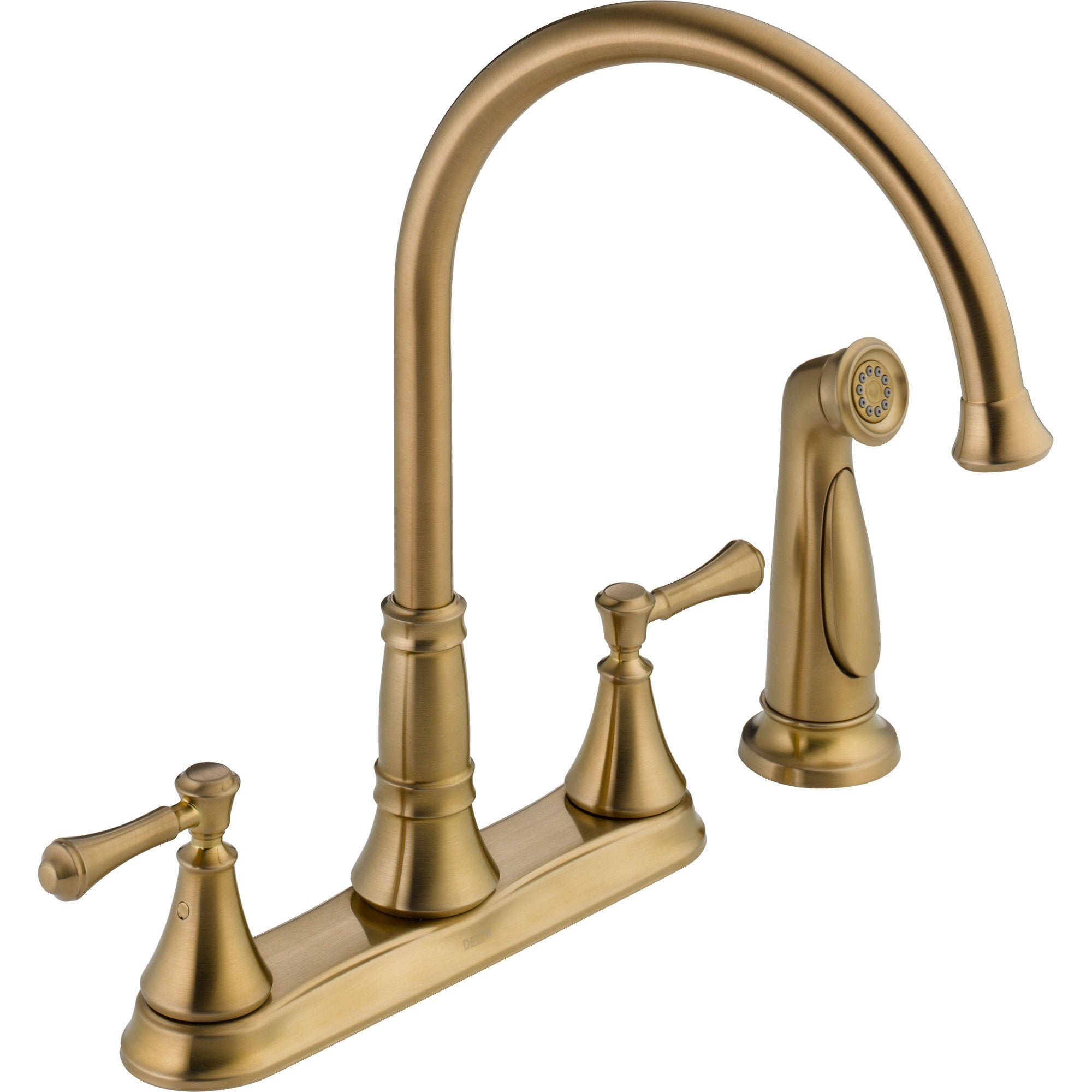 Delta Cassidy Gooseneck Champagne Bronze Kitchen Faucet with Side
