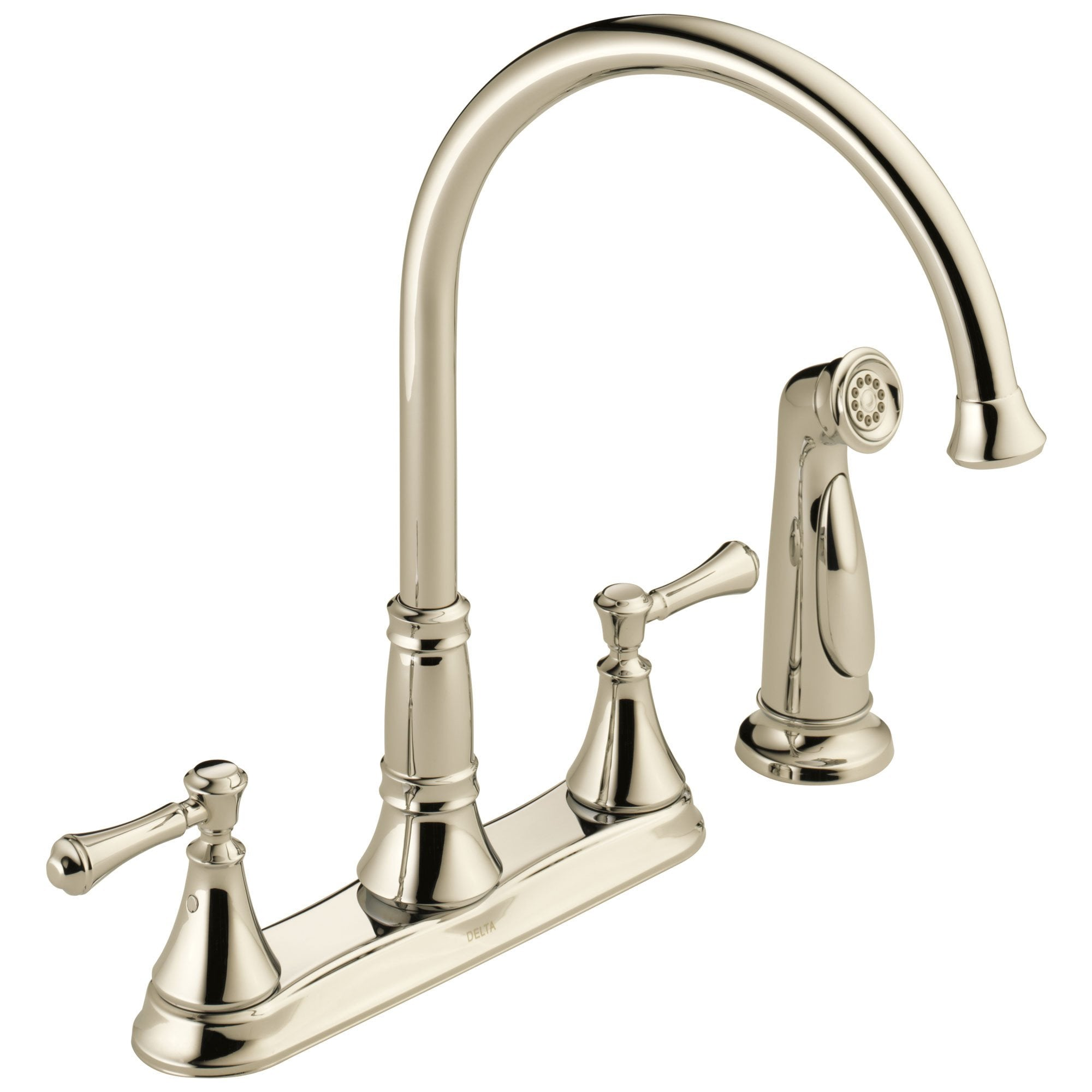 Delta Cassidy Collection Polished Nickel Finish Two Handle Kitchen Sink Faucet with Side Spray 751593