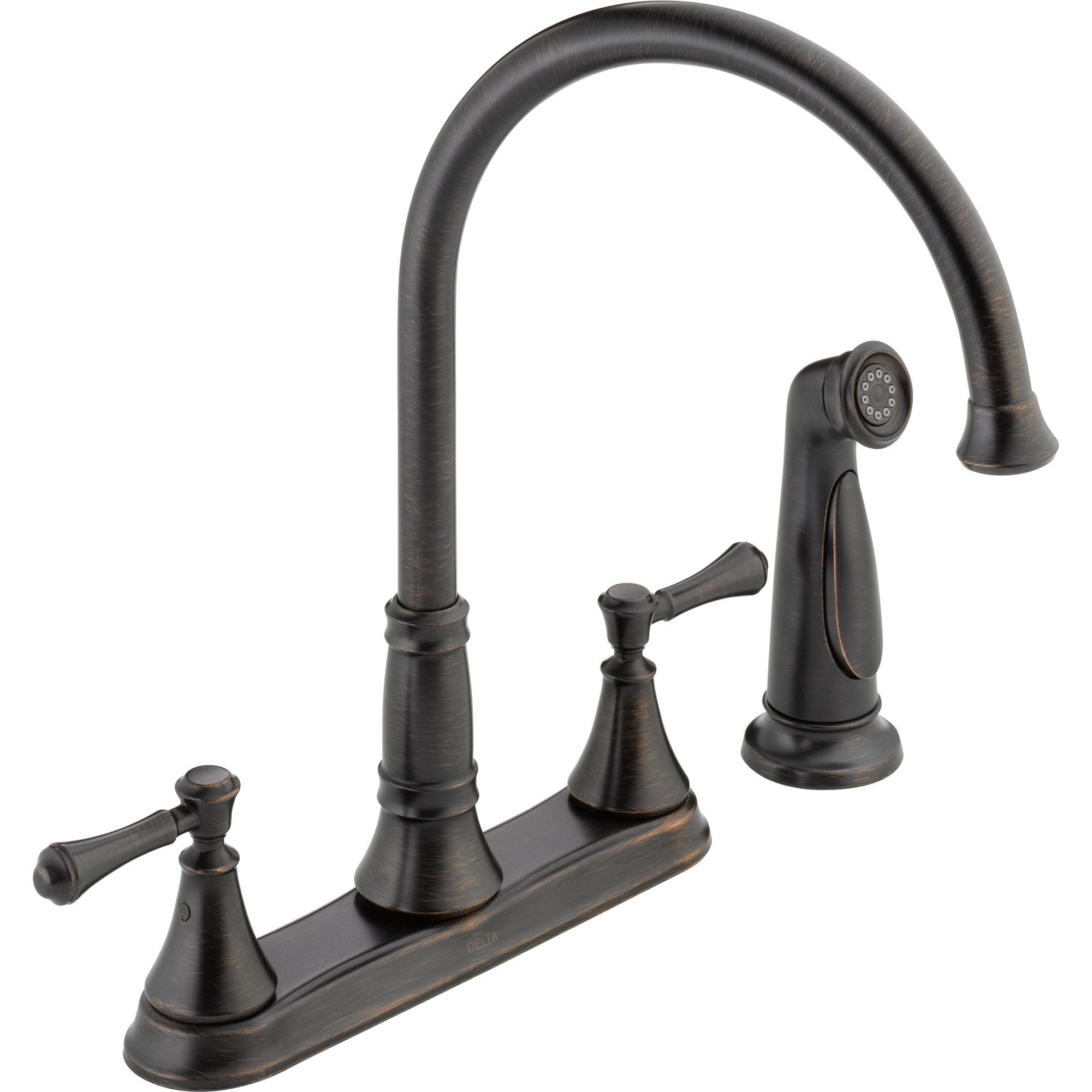 Delta Cassidy Gooseneck Venetian Bronze Kitchen Faucet with Side Sprayer 579506