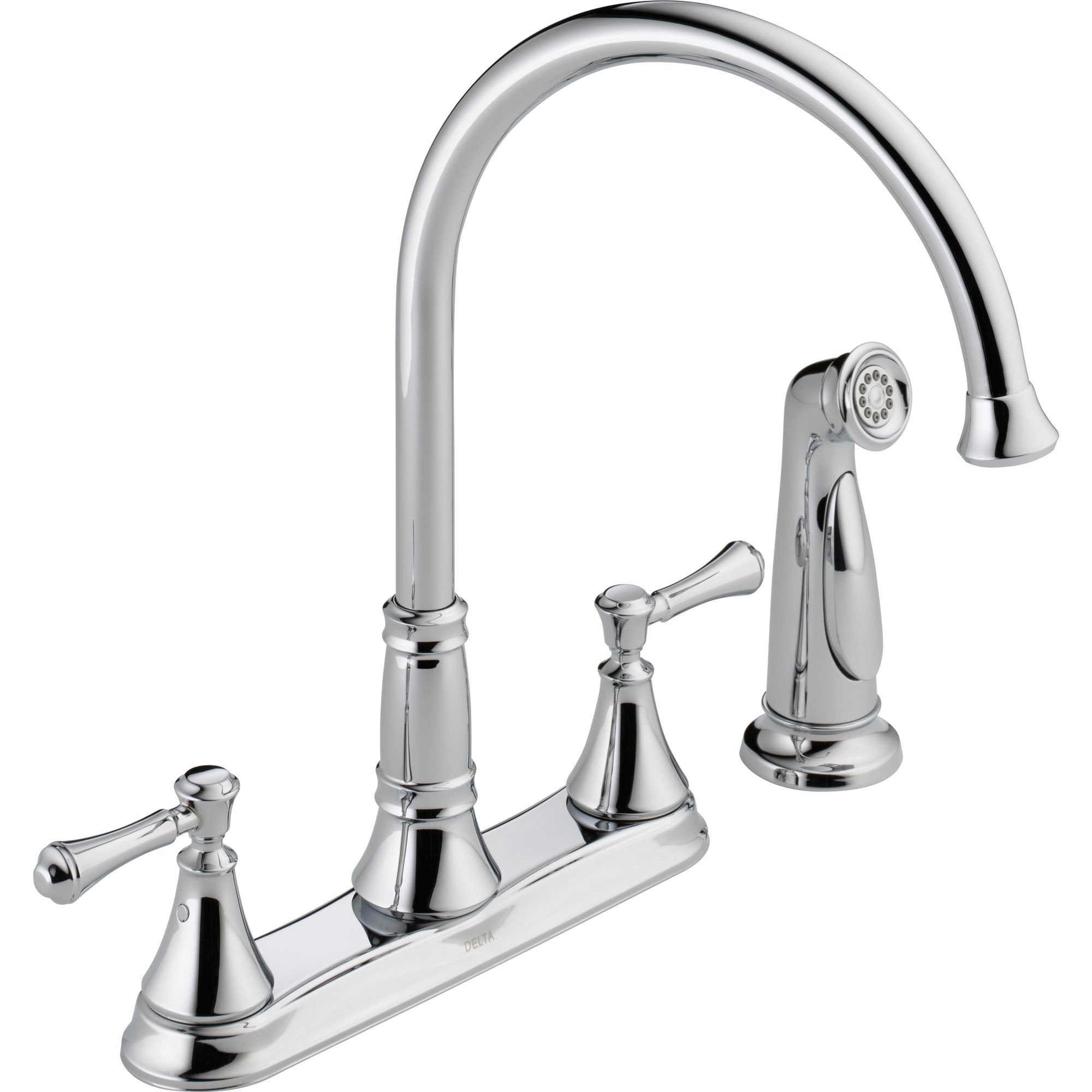 Delta Cassidy Gooseneck Chrome Kitchen Faucet with Side Sprayer
