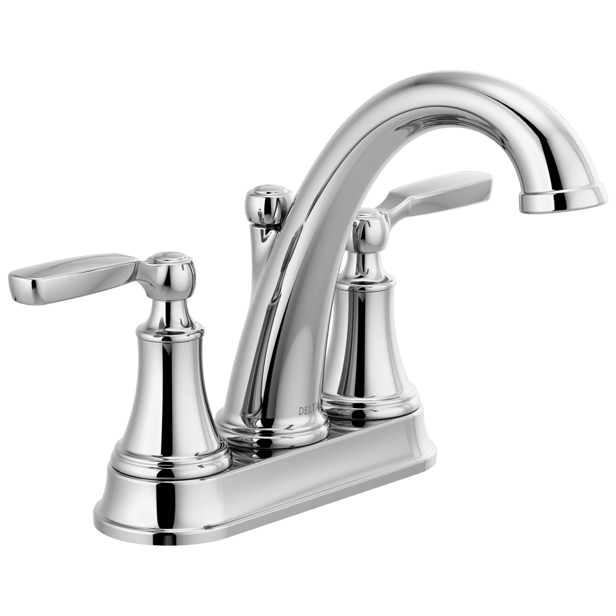 Delta Woodhurst Chrome Finish Lever Handle Centerset Bathroom Sink Faucet with Matching Drain D2532LFMPU