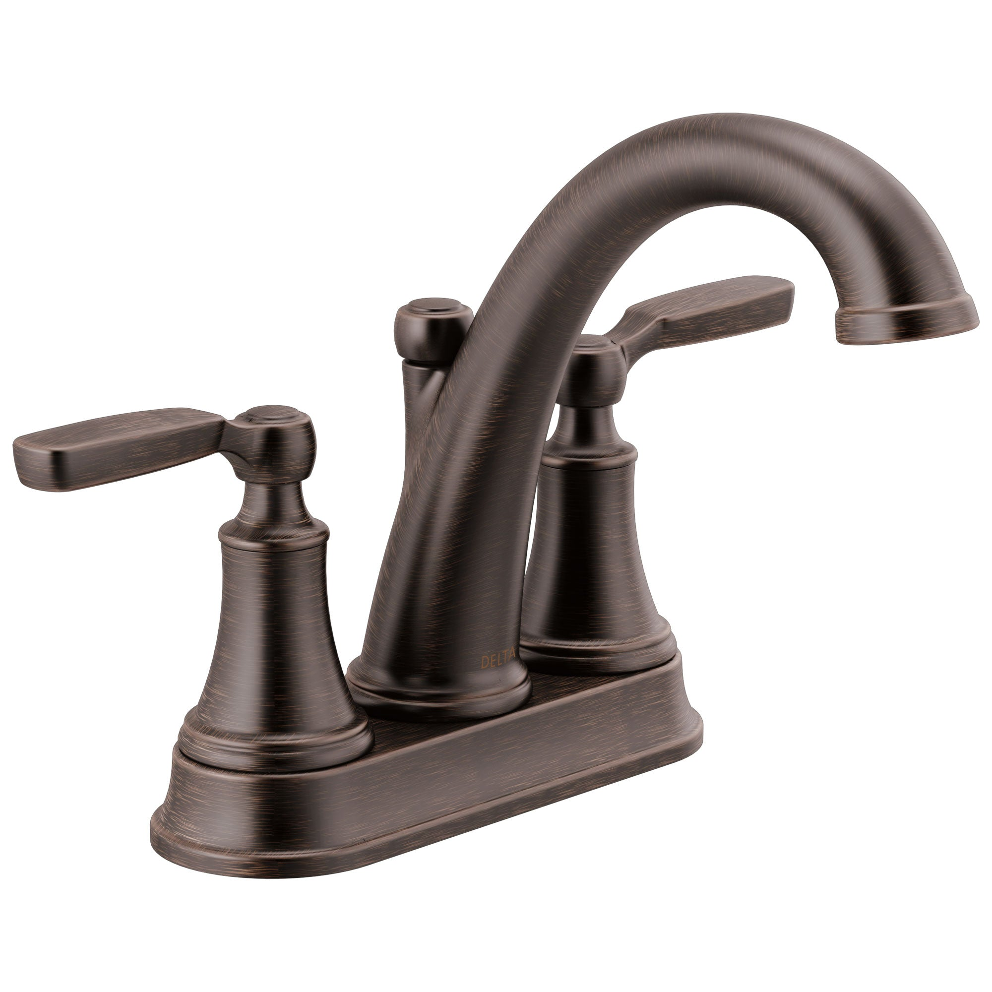 Delta Woodhurst Venetian Bronze Finish Lever Handle Centerset Bathroom Sink Faucet with Matching Drain D2532LFRBMPU
