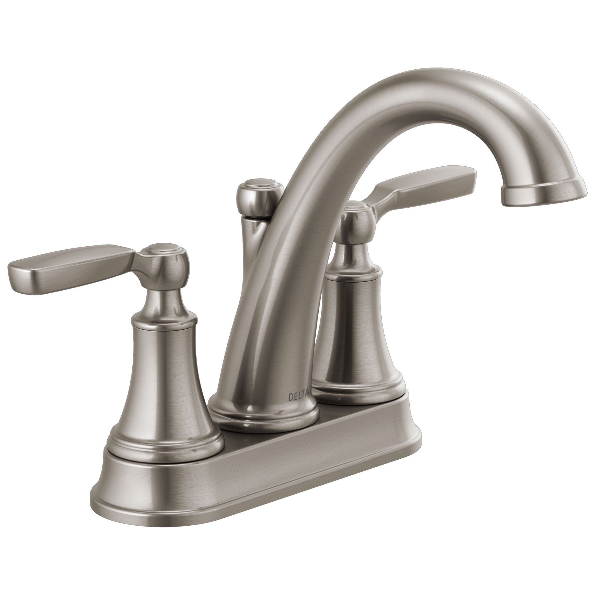 Delta Woodhurst Stainless Steel Finish Lever Handle Centerset Bathroom Sink Faucet with Matching Drain D2532LFSSMPU