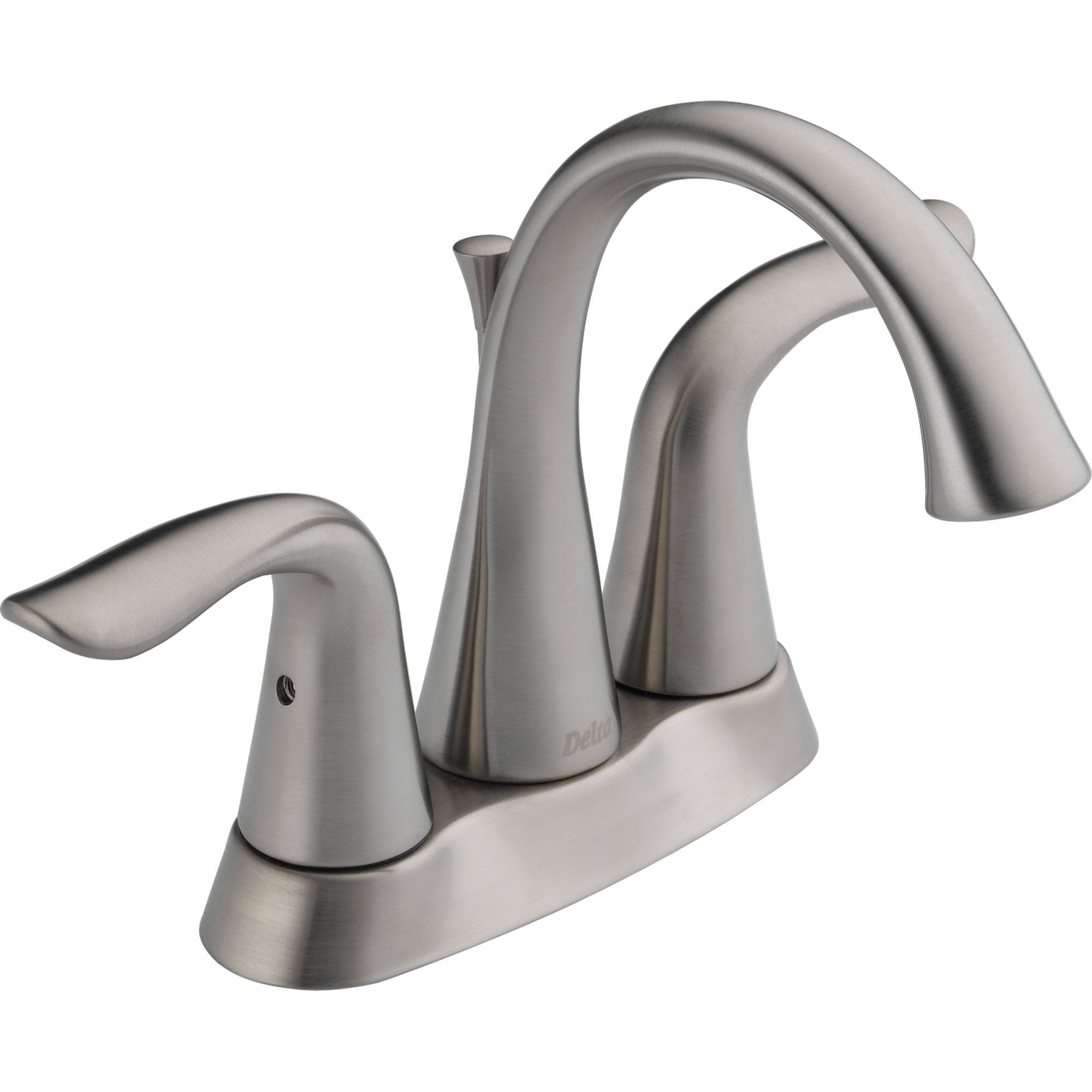 "Delta Lahara 4"" Centerset High Arc Brilliance Stainless Bathroom Faucet 614844"