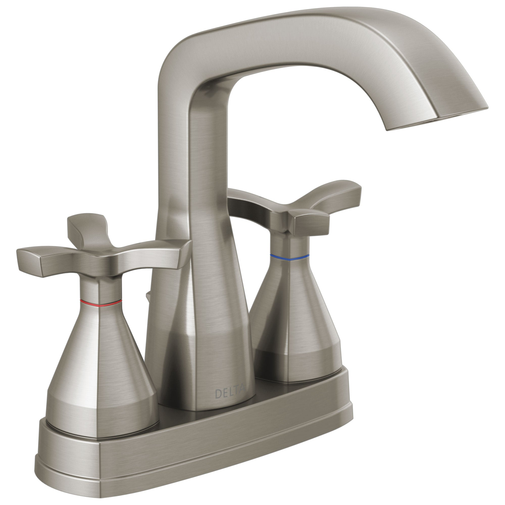 Delta Stryke Stainless Steel Finish Centerset Bathroom Faucet with Matching Drain and Cross Handles D257766SSMPUDST