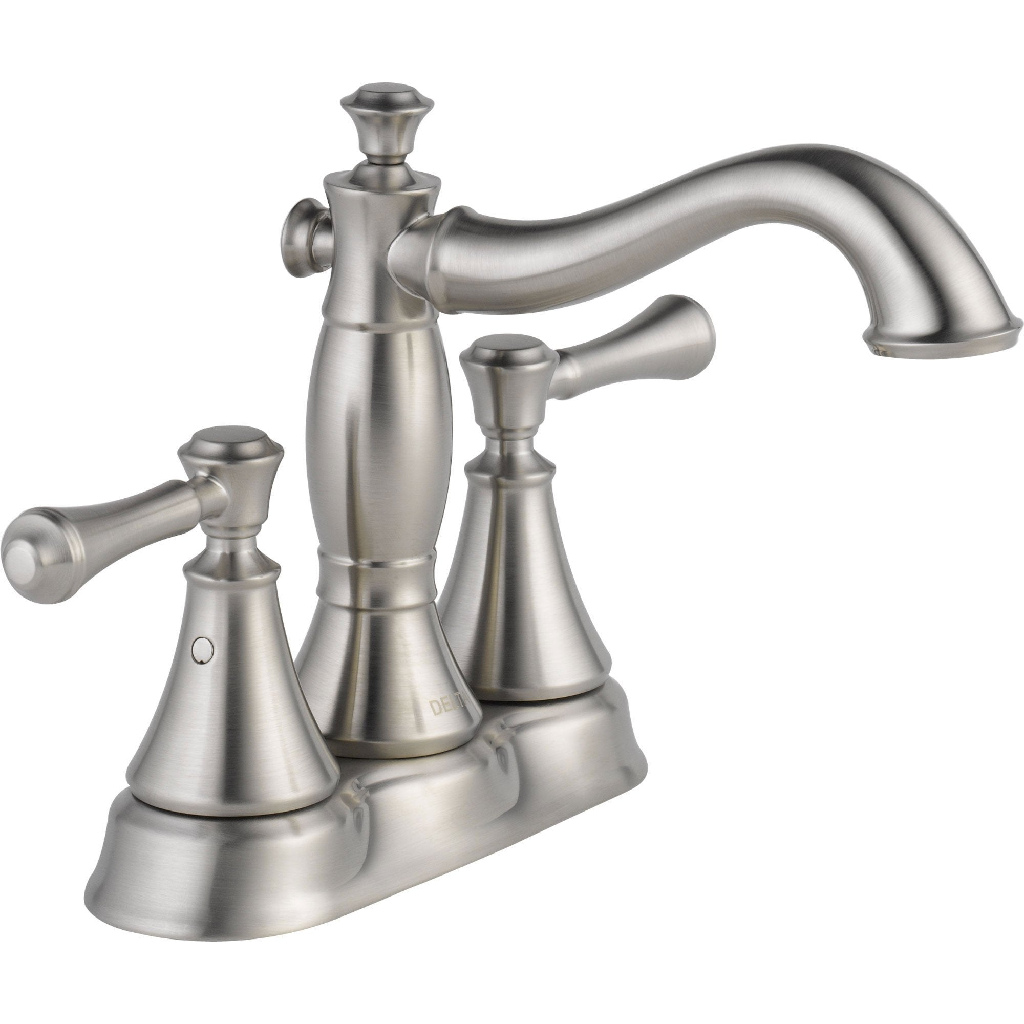 "Delta Cassidy Stainless Finish High Arc 4"" Centerset Bathroom Faucet 579512"