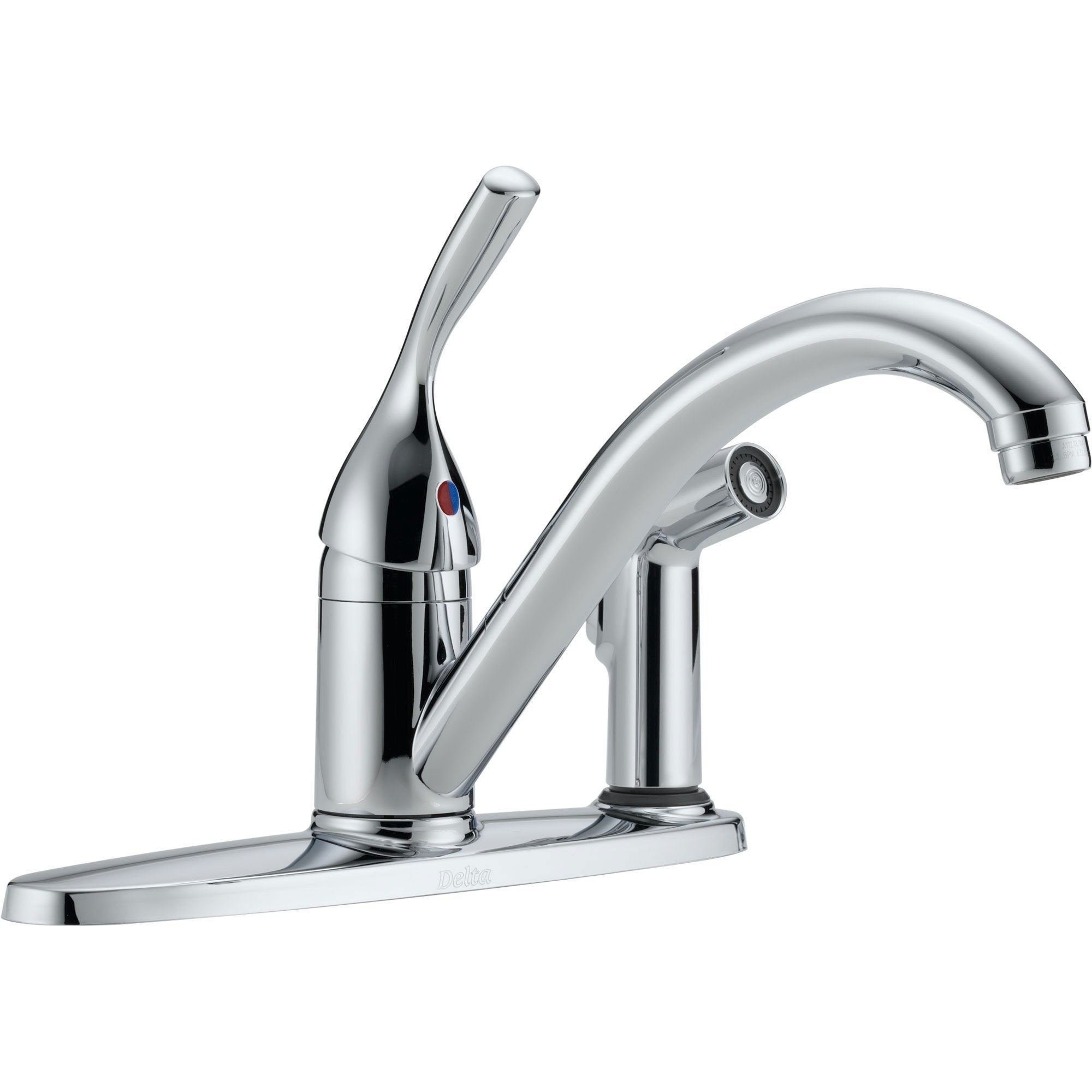 Delta Classic Single Handle Polished Chrome Kitchen Faucet with Sprayer 473790