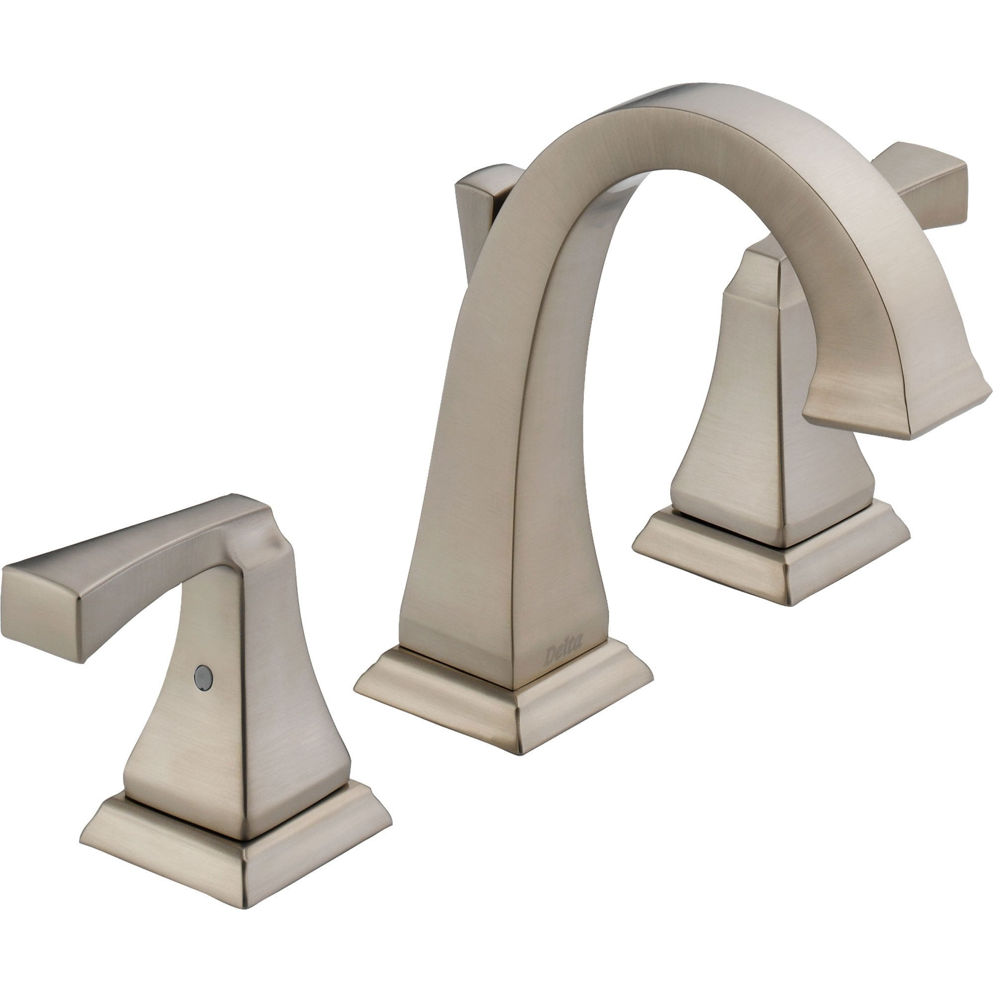 Delta Dryden Modern High Arc Stainless Finish Widespread Bathroom Faucet 474215