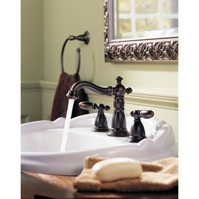 Delta Victorian Collection Venetian Bronze Finish Traditional Style Two Handle Widespread Lavatory Bathroom Sink Faucet with Drain D3555RBMPUDST