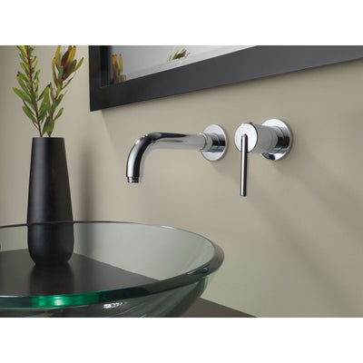 Delta Trinsic Collection Chrome Finish Single Lever Handle Wall Mount Bathroom Sink Lavatory Faucet Includes Rough-in Valve D2095V