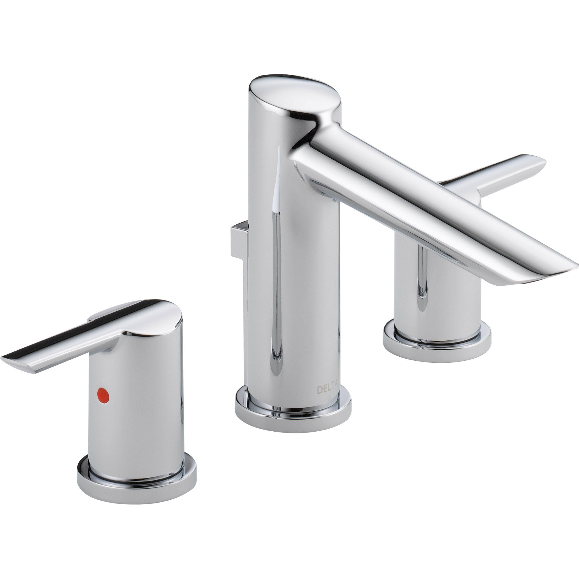 Delta Compel Modern Chrome Finish Widespread High Arc Bathroom Faucet Faucetlist Com