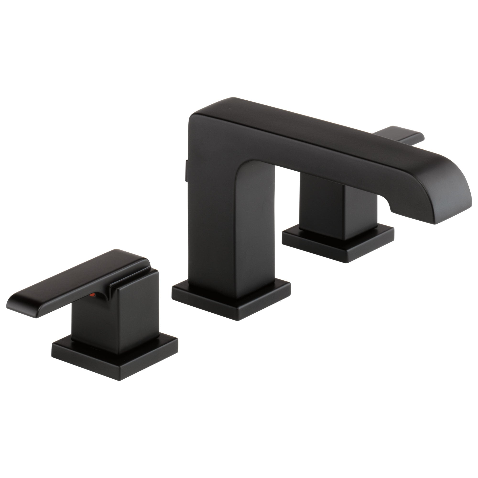 Delta Ara Collection Matte Black Finish Two Handle Modern Widespread Bathroom Sink Lavy Faucet with Metal Pop-up Drain D3567BLMPUDST