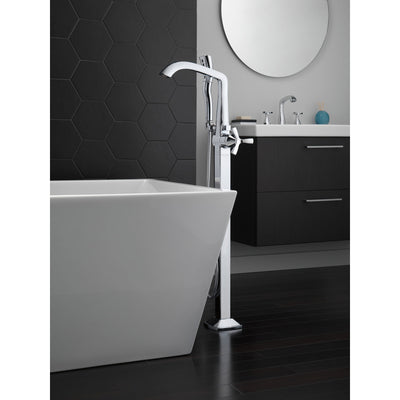 Delta Stryke Chrome Finish Single Helo Cross Handle Floor Mount Tub Filler Faucet with Hand Sprayer Includes Rough-in Valve D3044V