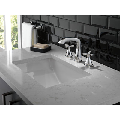 Delta Stryke Chrome Finish Widespread Bathroom Faucet with Matching Drain and Cross Handles D357766MPUDST