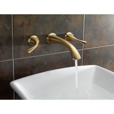Delta Addison Collection Champagne Bronze Contemporary Two Handle Wall Mount Bathroom Lavatory Sink Faucet Includes Rough-in Valve D2088V