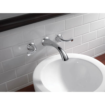 Delta Addison Collection Chrome Finish Contemporary Two Handle Wall Mount Bathroom Lavatory Sink Faucet Includes Rough-in Valve D2085V