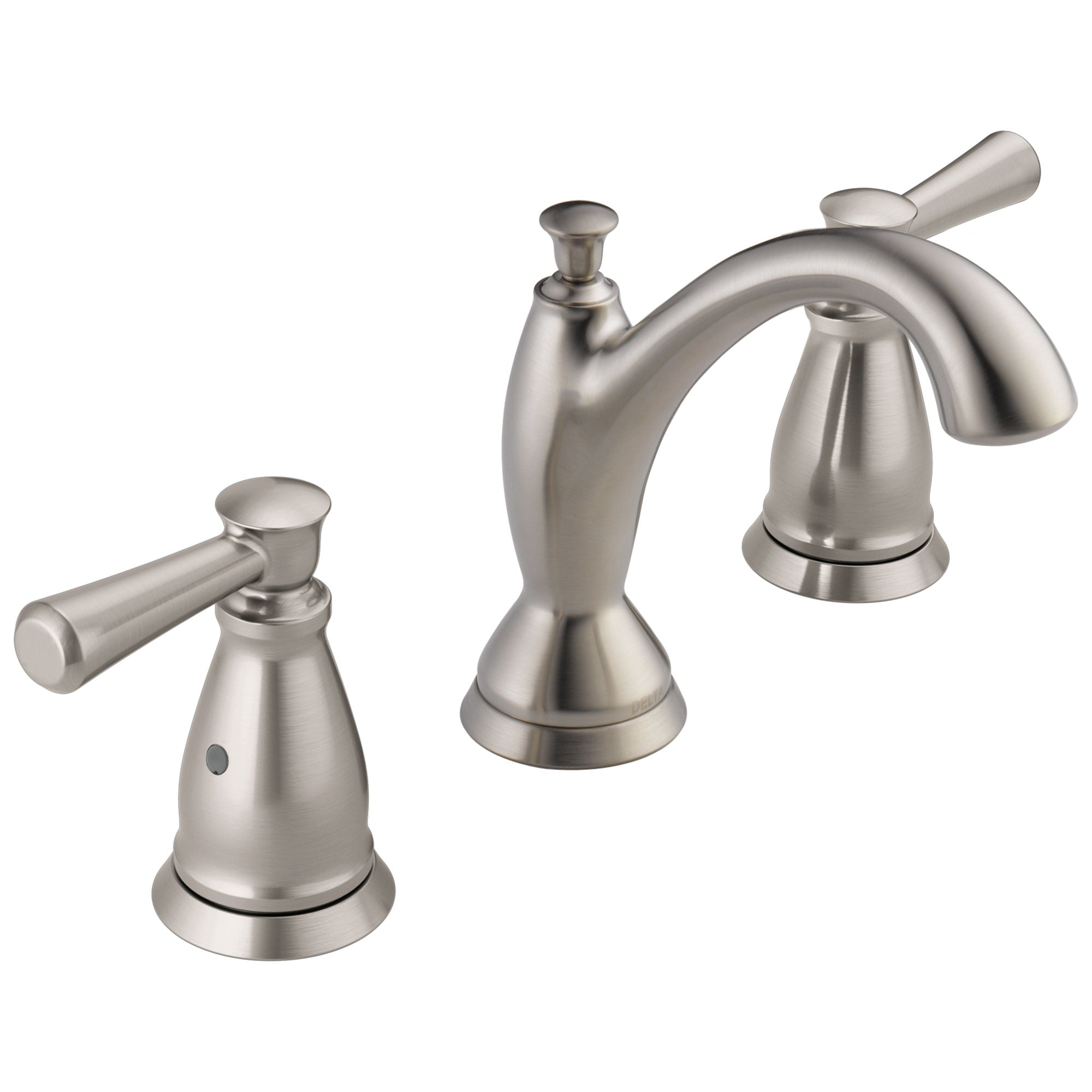 Delta Linden Collection Stainless Steel Finish Two Handle Widespread Lavatory Bathroom Sink Faucet with Metal Pop-up Drain D3593SSMPUDST