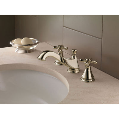 Delta Cassidy Polished Nickel Finish Widespread Lavatory Low Arc Spout Bathroom Sink Faucet INCLUDES Two Cross Handles and Matching Metal Pop-Up Drain D1314V