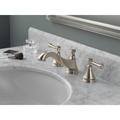 Delta Cassidy Stainless Steel Finish Widespread Lavatory Low Arc Spout Bathroom Sink Faucet INCLUDES Two Lever Handles and Matching Metal Pop-Up Drain D1311V