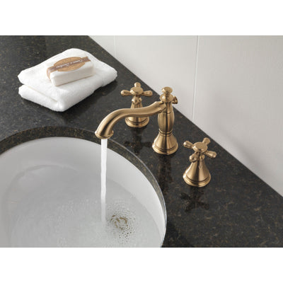 Delta Cassidy Collection Champagne Bronze Widespread Lavatory Bathroom Sink Faucet INCLUDES Two Cross Handles and Metal Pop-Up Drain D1786V