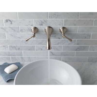 Delta Cassidy Collection Stainless Steel Finish Traditional Style Two Handle Wall Mount Bathroom Sink Faucet Includes Trim Kit and Rough-in Valve D2081V