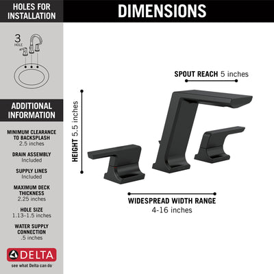 Delta Pivotal Matte Black Finish Modern Two Handle Widespread Bathroom Faucet with Matching Finish Drain D3599LFBLMPU