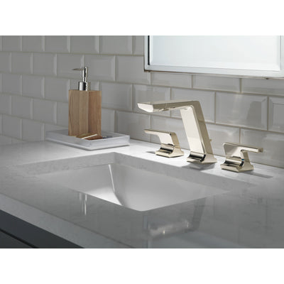 Delta Pivotal Polished Nickel Finish Modern Two Handle Widespread Bathroom Faucet with Matching Finish Drain D3599LFPNMPU