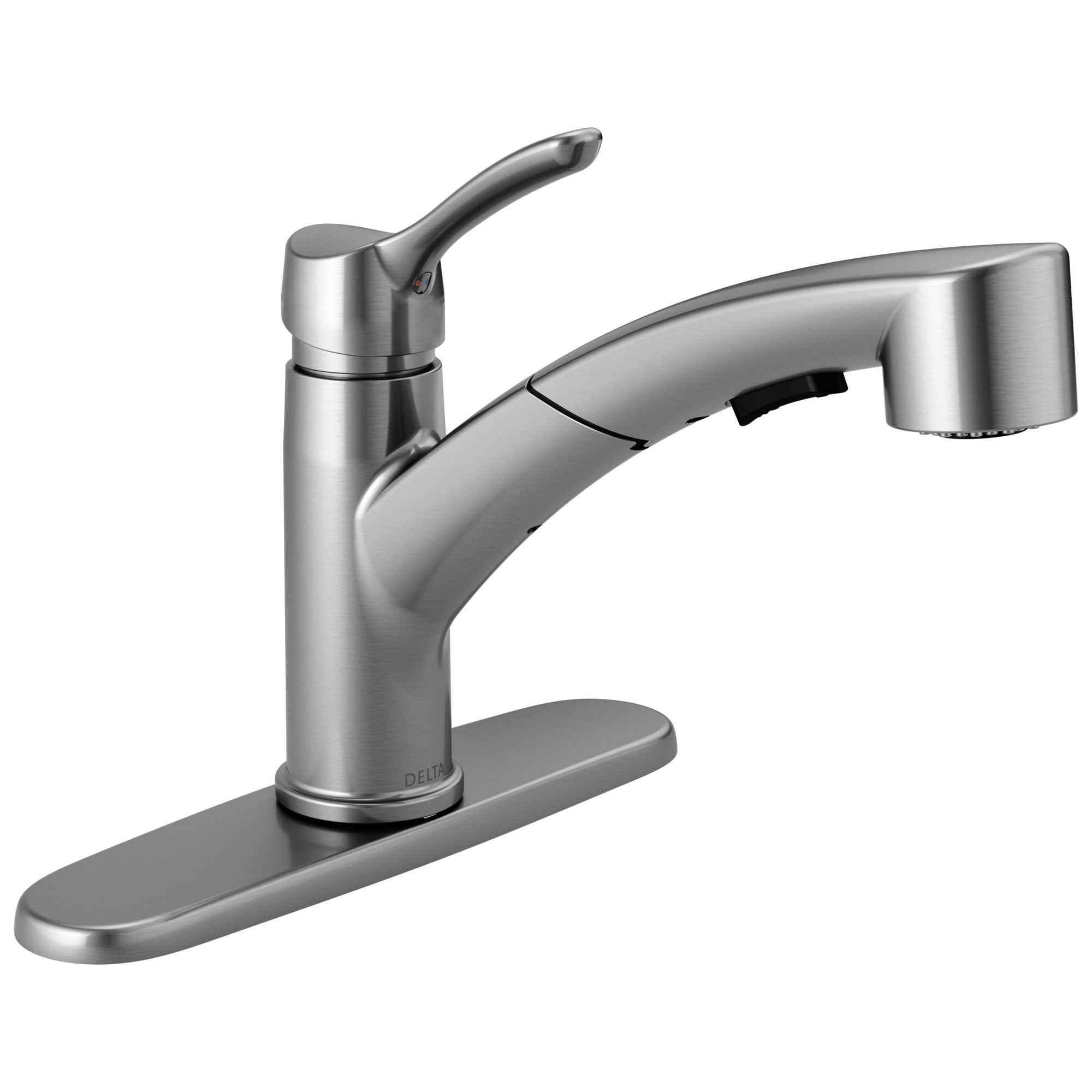 Delta Collins Collection Arctic Stainless Steel Finish Modern Single Lever Handle Pull-Out Kitchen Sink Faucet D4140ARDST