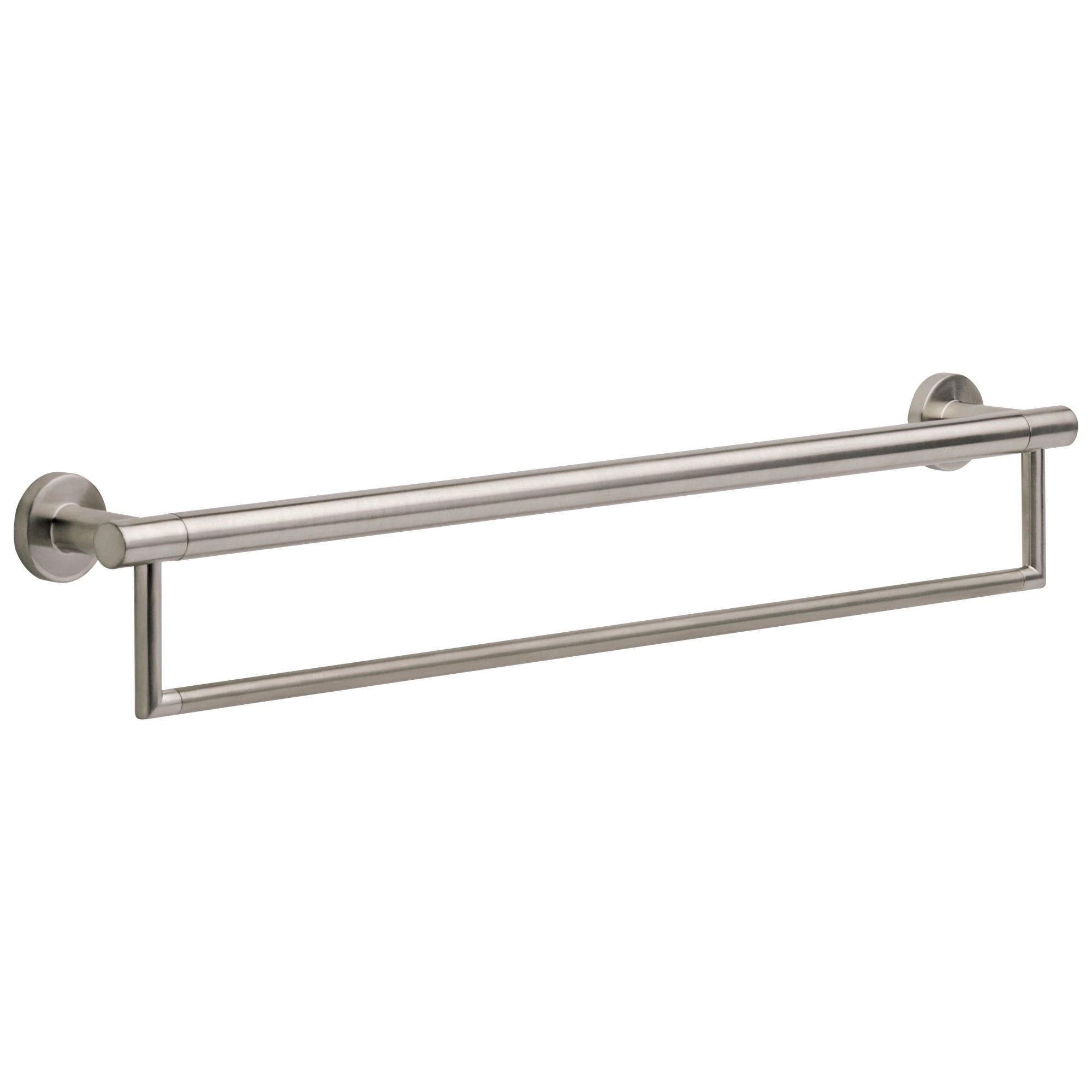 "Delta Bath Safety Collection Stainless Steel Finish Contemporary 24"" Towel Bar with Assist Grab Bar 660992"