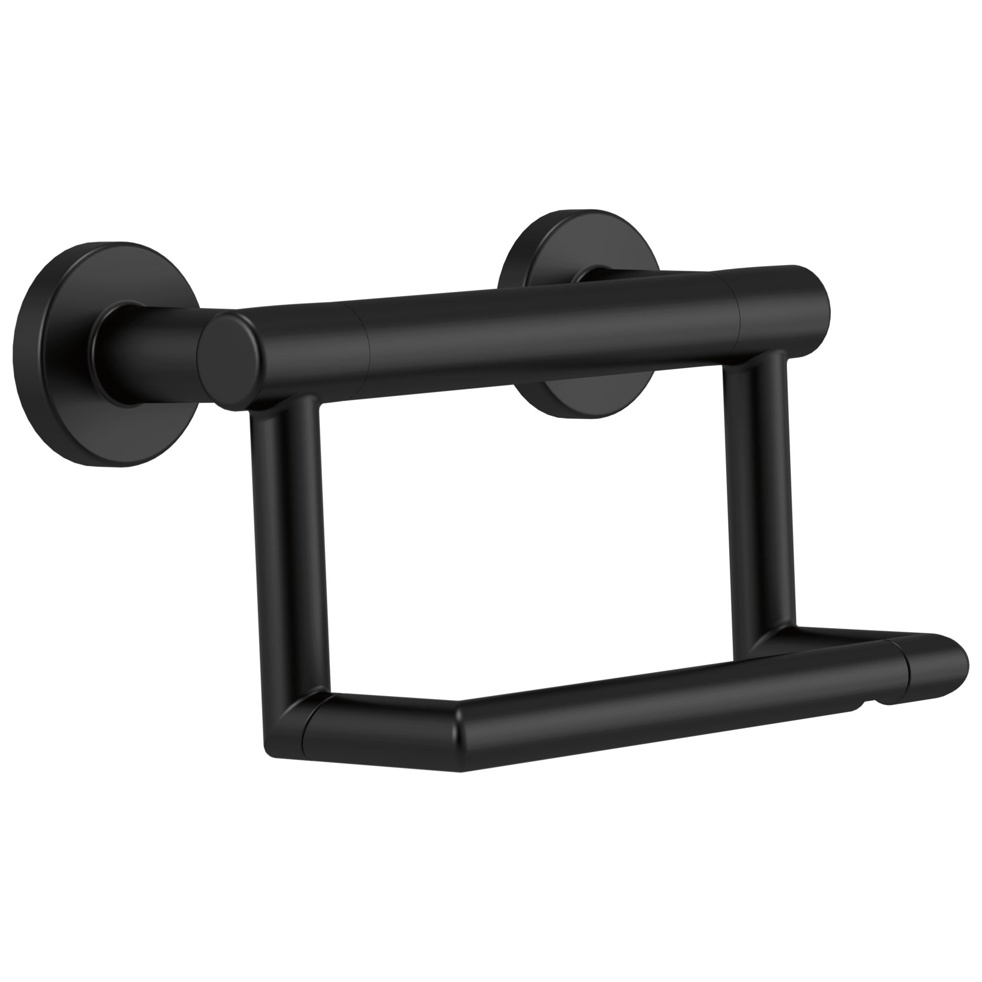 Delta Bath Safety Matte Black Finish Delta Contemporary Toilet Paper Tissue Holder with Assist Grab Bar D41550BL