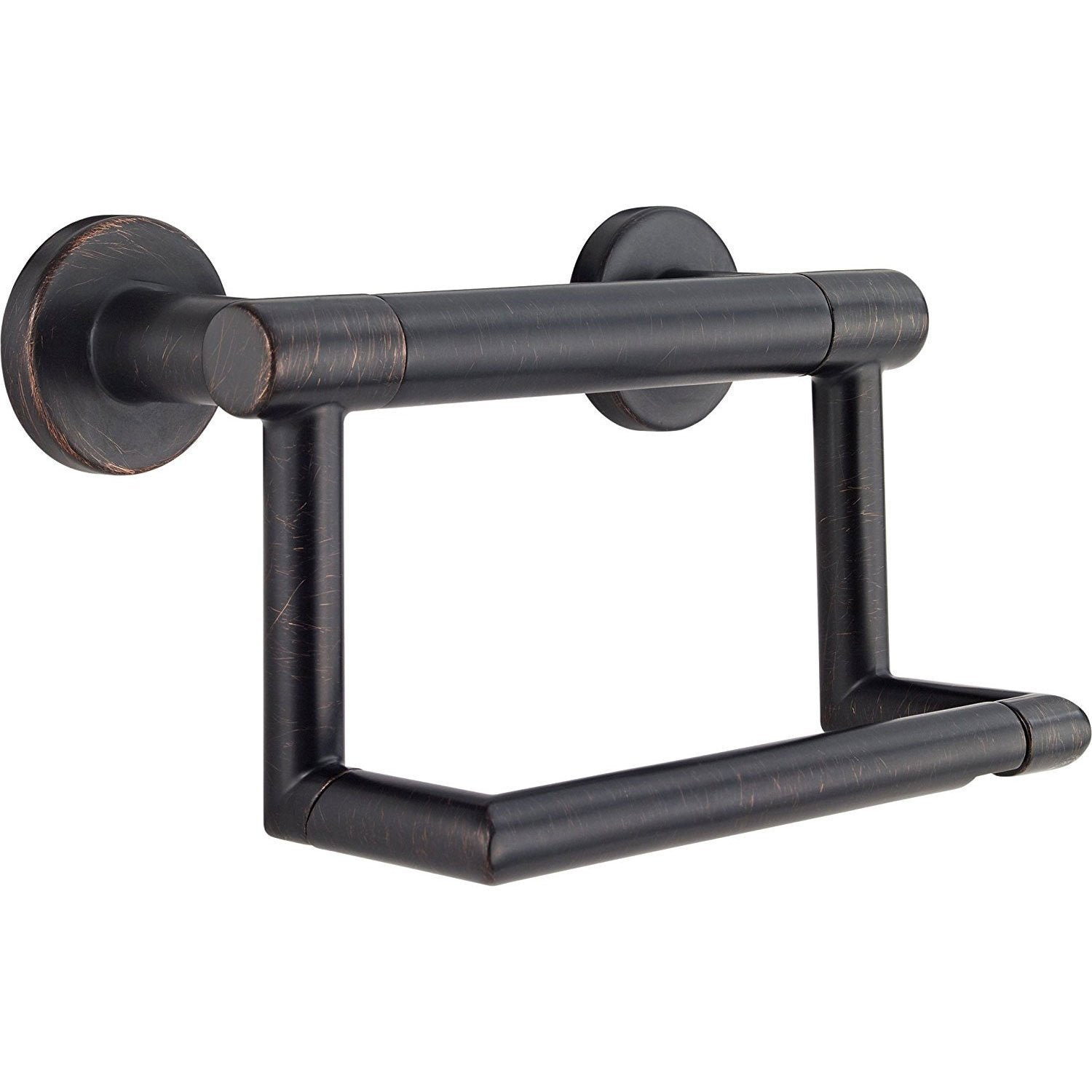 Delta Bath Safety Collection Venetian Bronze Finish Contemporary Toilet Tissue Paper Holder with Grab Assist Bar D41550RB