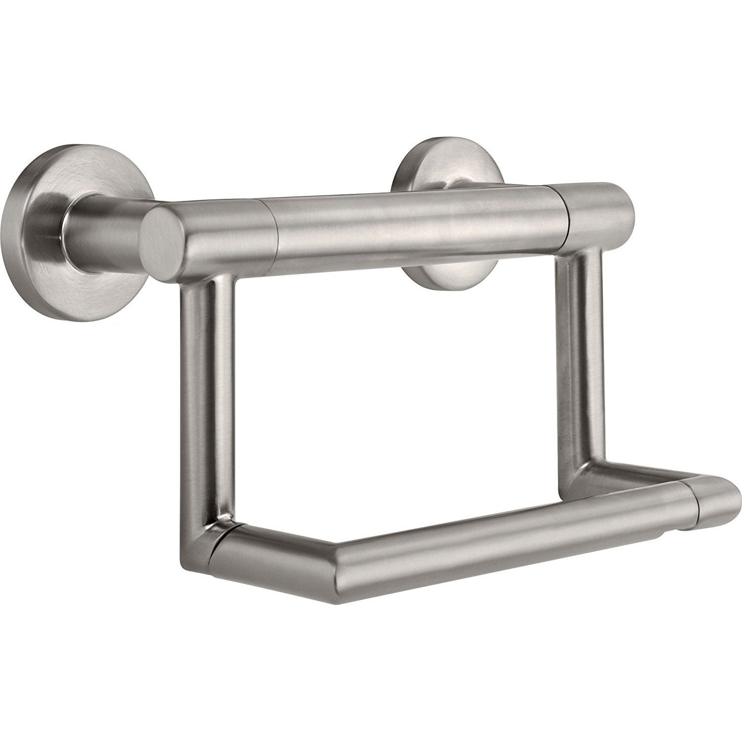 Delta Bath Safety Collection Stainless Steel Finish Contemporary Toilet Tissue Paper Holder with Grab Assist Bar D41550SS
