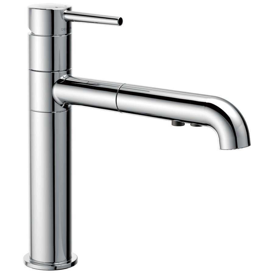 delta trinsic collection chrome finish modern single handle pullout kitchen sink faucet