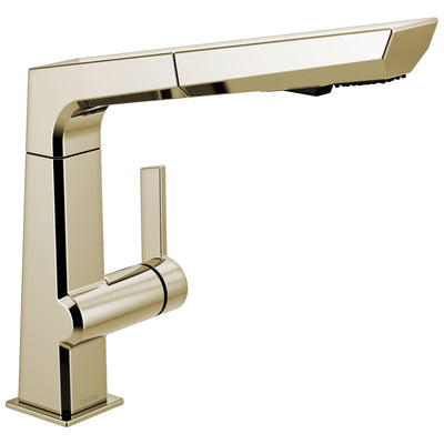 Delta Pivotal Modern Polished Nickel Finish Single Handle Pull Out Kitchen Faucet D4193PNDST