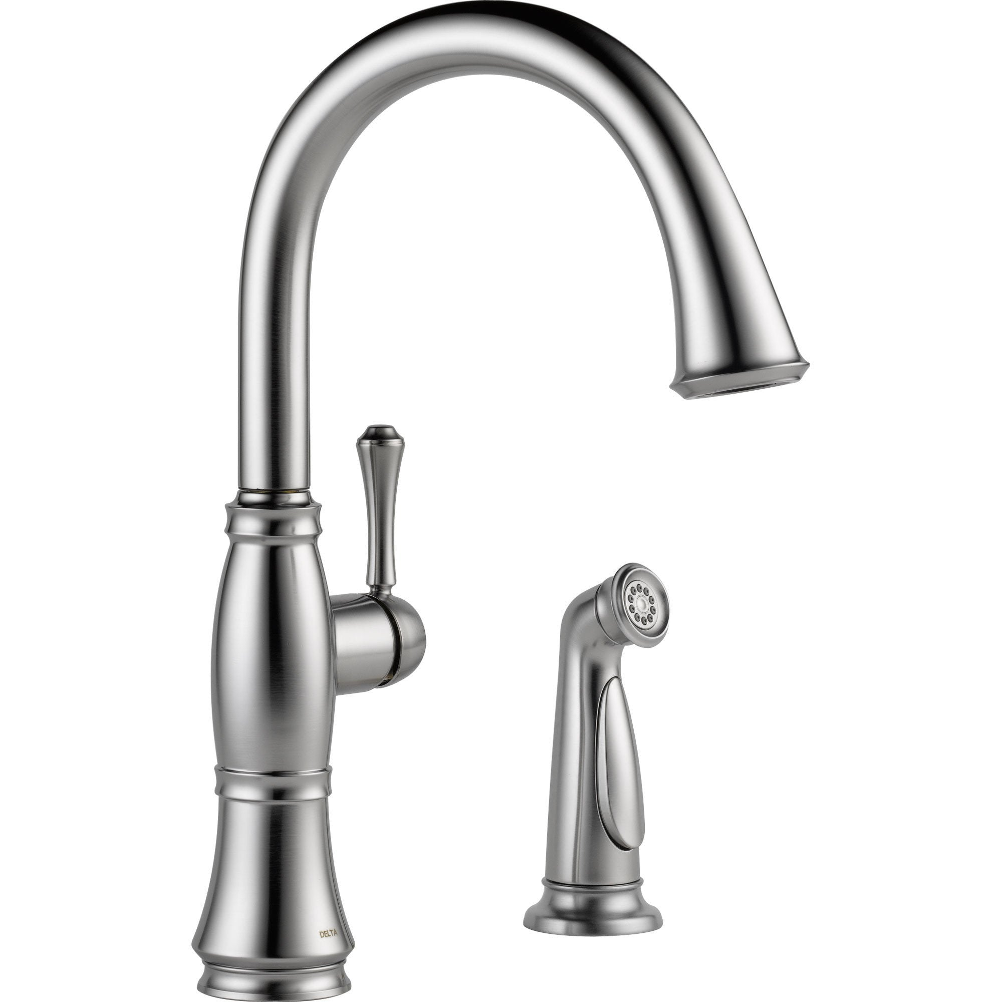 Kitchen Faucet With Side Sprayer | Delta Cassidy Gooseneck Arctic Stainless Kitchen Faucet W Side Sprayer 612372