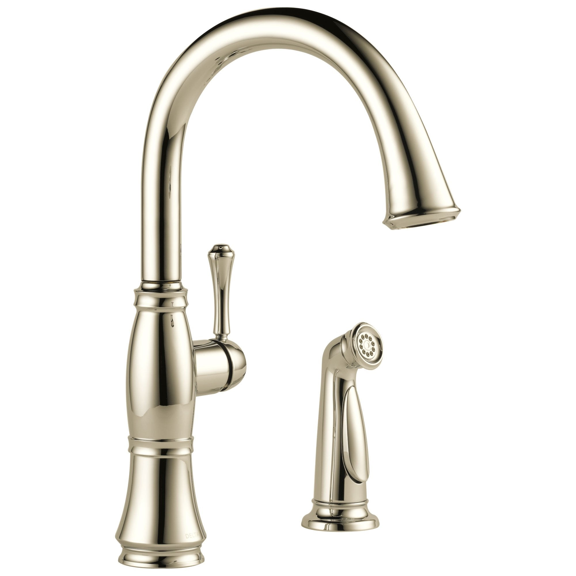Delta Cassidy Collection Polished Nickel Finish Single Lever Handle Kitchen Sink Faucet with Side Spray 751594