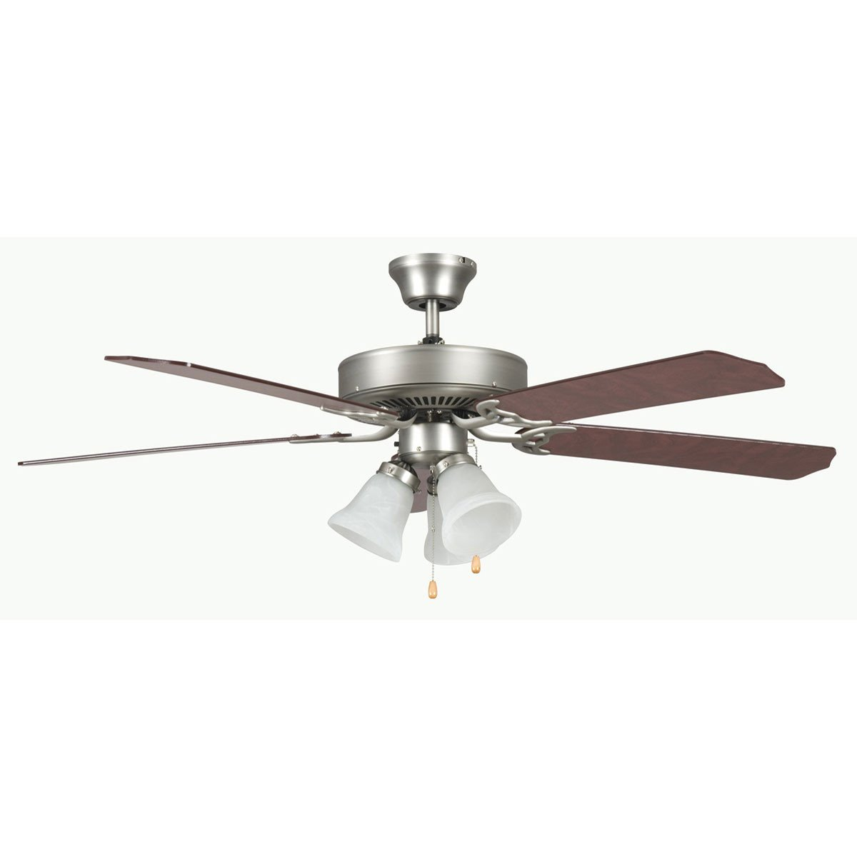 "Concord Fans 42"" Contemporary Small Satin Nickel Ceiling Fan with Light Kit"