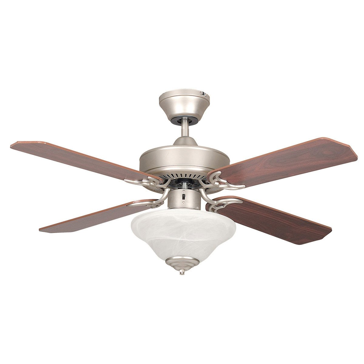 "Concord Fans 42"" Satin Nickel Modern Small Ceiling Fan with Bowl Style Light Kit"