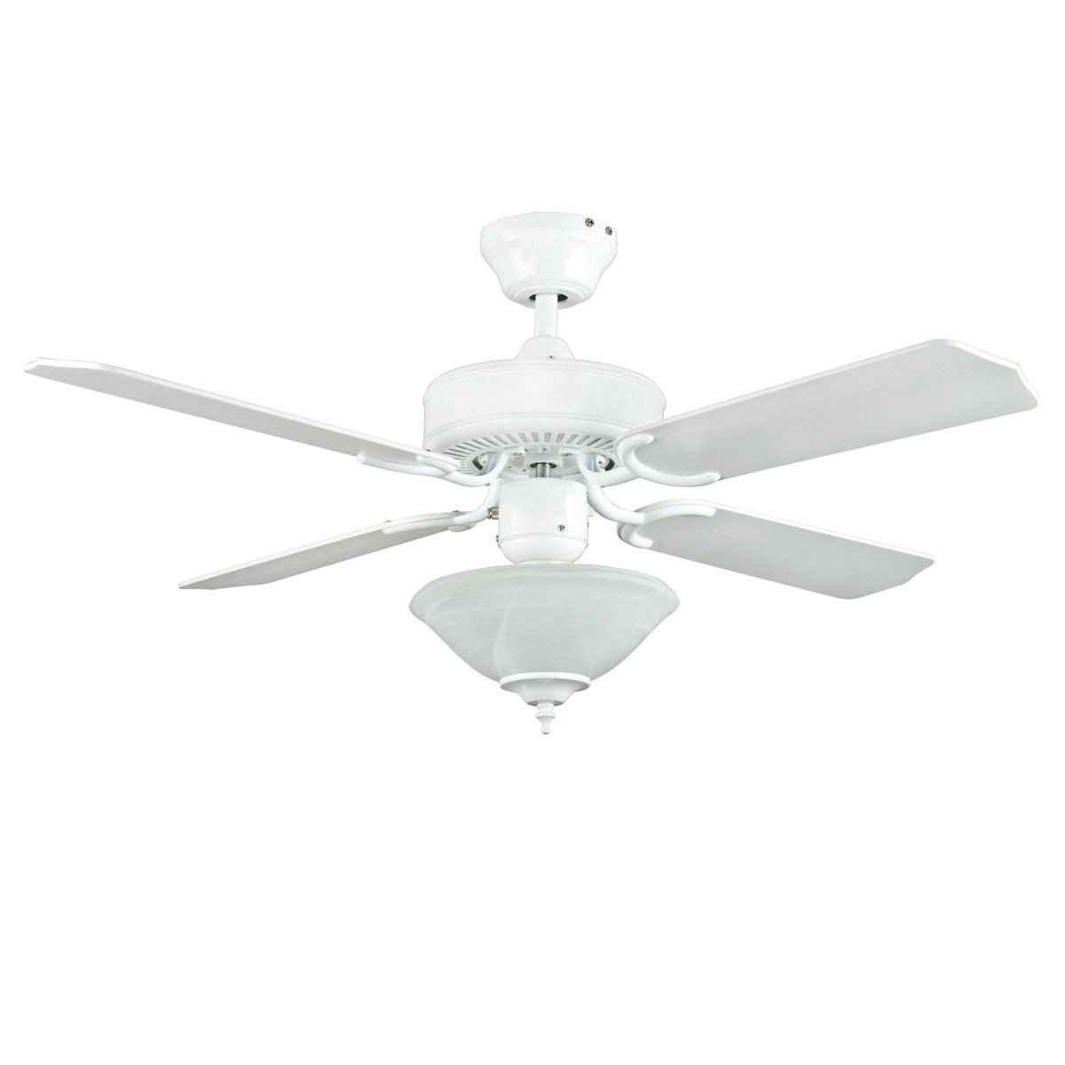 "Concord Fans 42"" White Modern Small Ceiling Fan with Bowl Fan Light Kit"