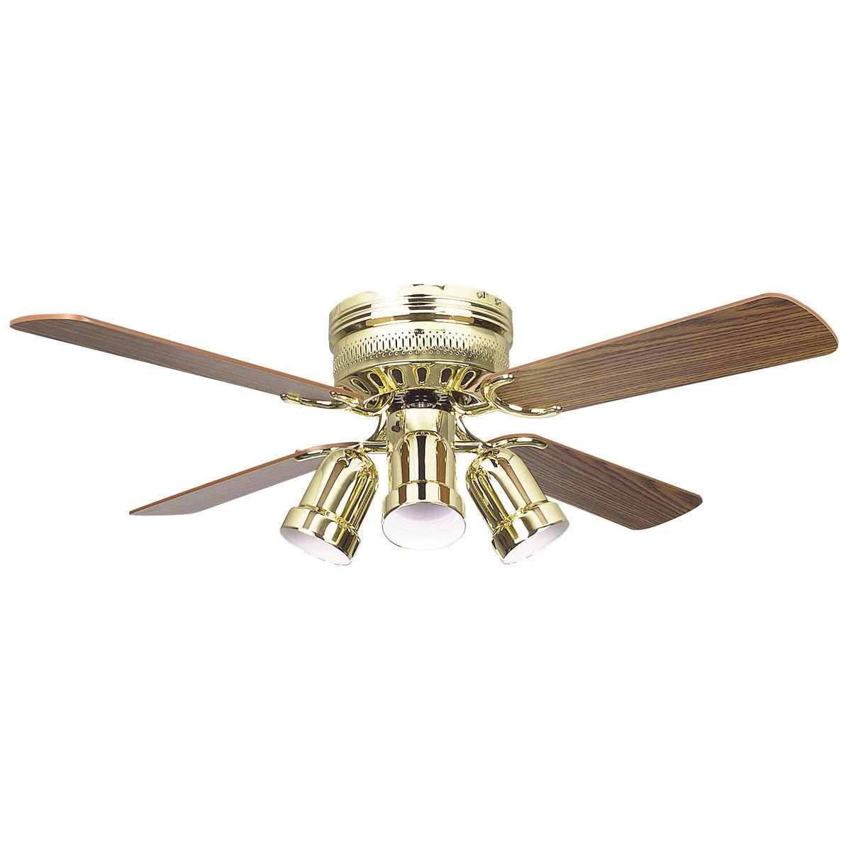 "Concord Fans 42"" Small Polished Brass Low Profile Hugger Ceiling Fan with Lights"