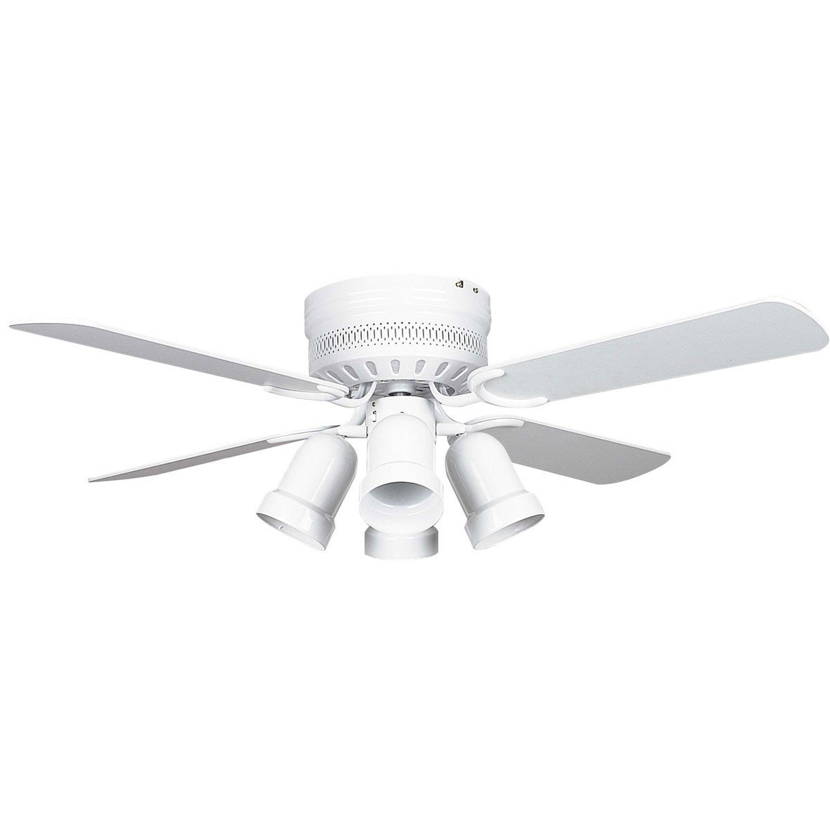 "Concord Fans 42"" Small White Low Profile Hugger Ceiling Fan with Lights"