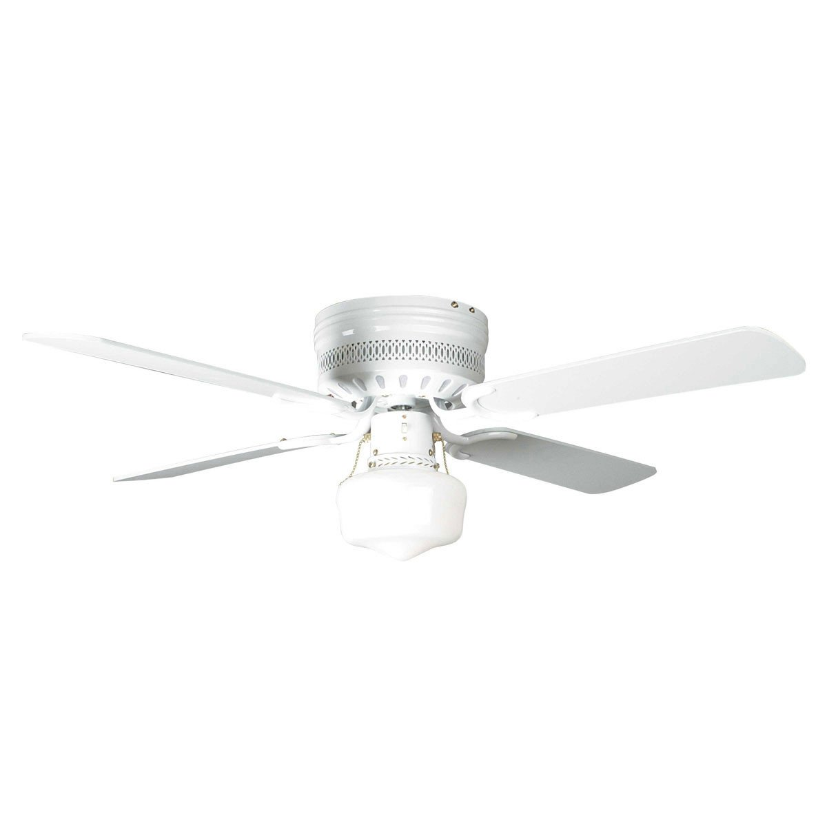 "Concord Fans 42"" Small White Low Profile Hugger Ceiling Fan with Light Kit"