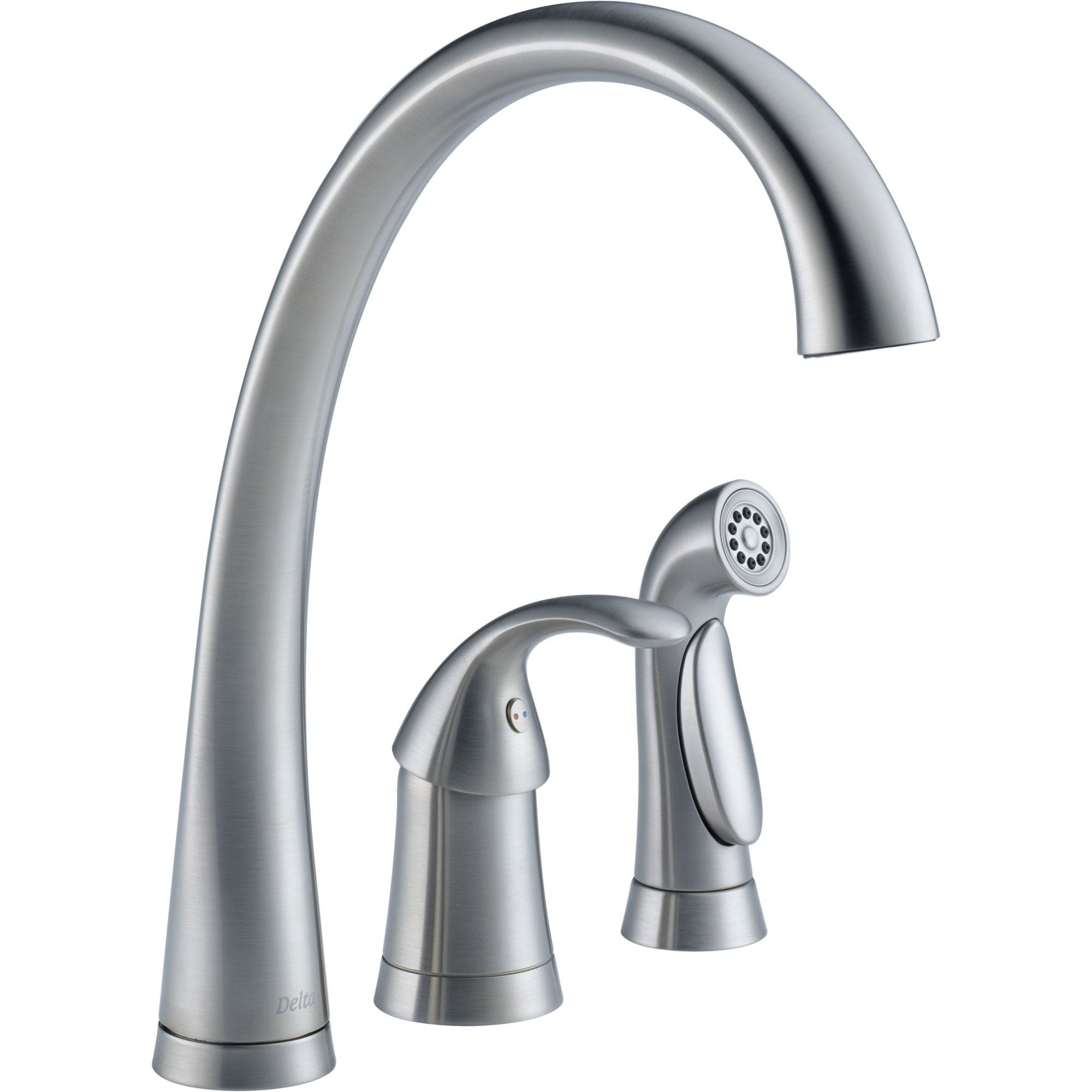 Delta Pilar Single Handle Kitchen Faucet with Spray in Arctic Stainless 556051