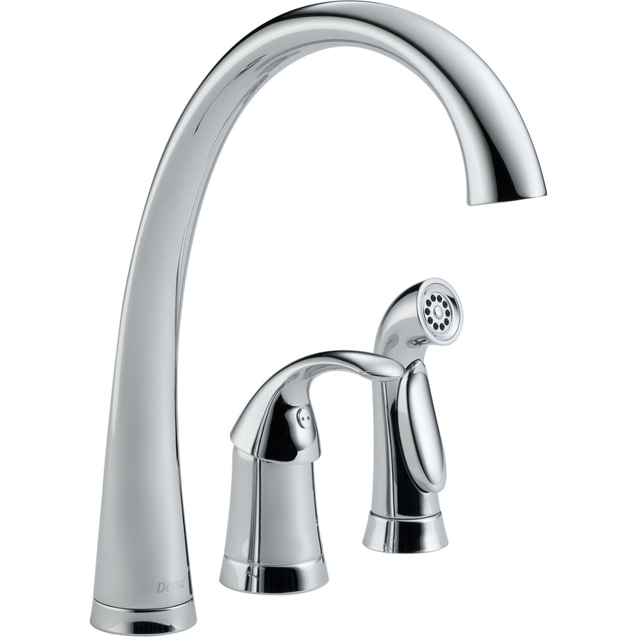 wonderful Three Hole Kitchen Faucets Part - 16: Delta Pilar Single Handle Chrome Finish Kitchen Faucet with Side Sprayer  474488
