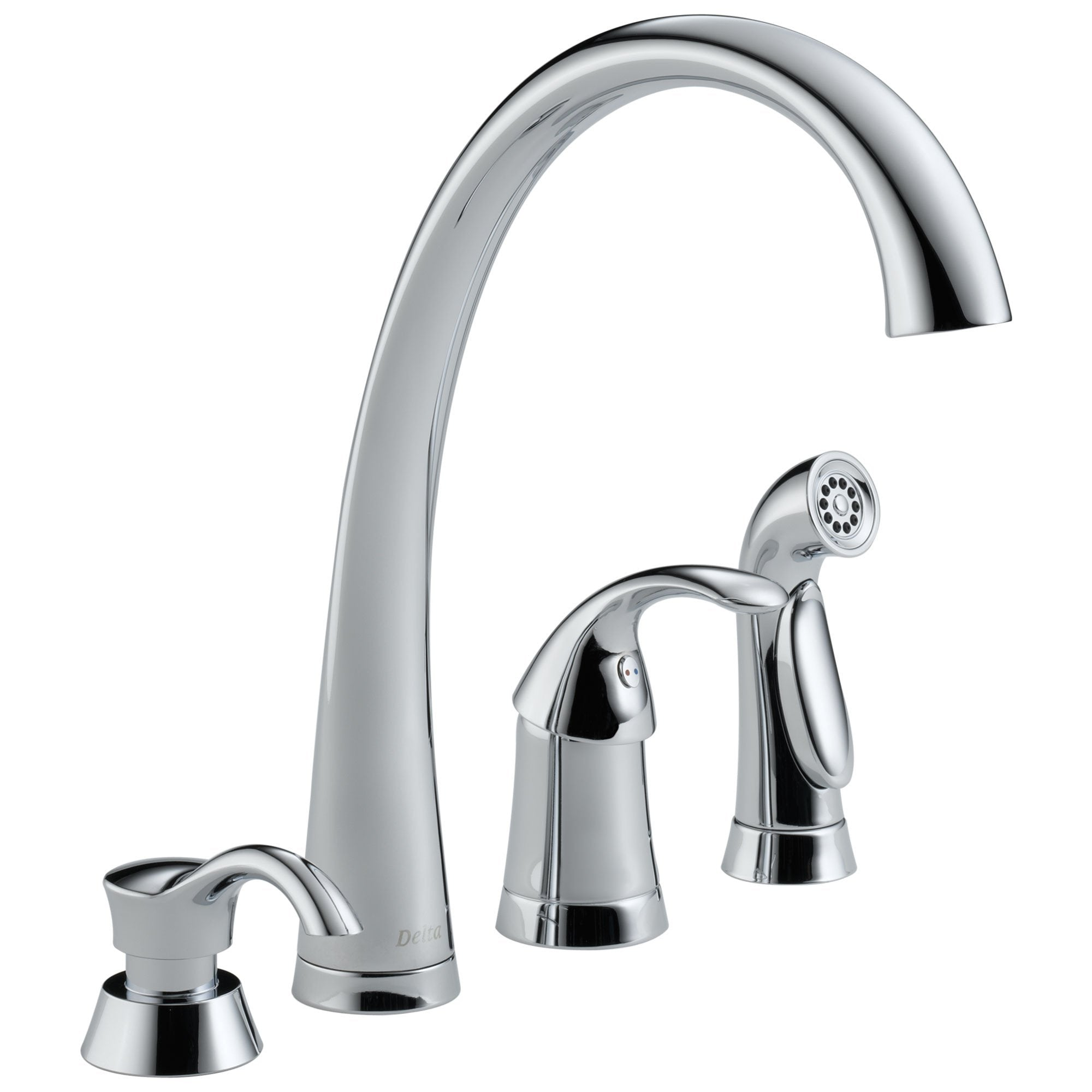 Delta Pilar Collection Chrome Finish Single Handle Kitchen Sink Faucet with  Sprayer and Soap Dispenser 732737