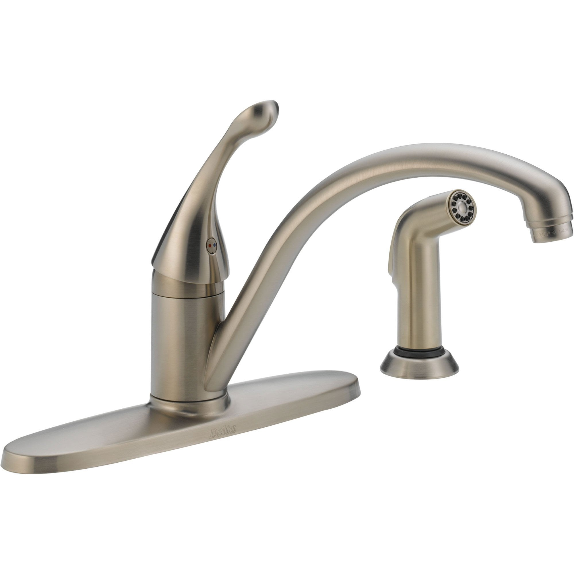 Delta Collins Single Handle Stainless Finish Kitchen Faucet w/ Side Spray 465287