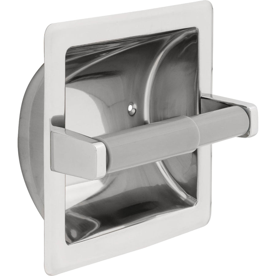delta recessed toilet paper holder with roller in bright stainless steel